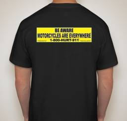 T shirt back advertising motorcycle awareness and lawyers