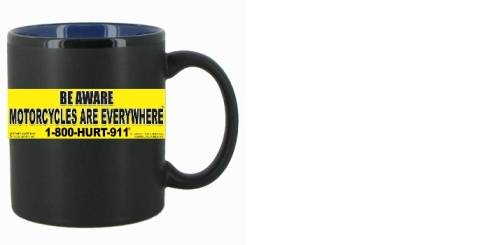 mugs with motorcycle awareness & advertising for attorneys