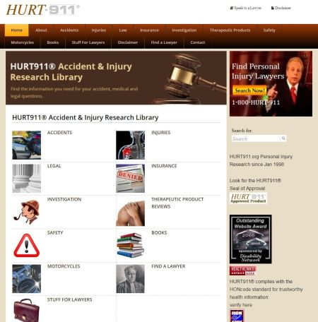 Personal Injury advertising website and attorney directory HURT911.org