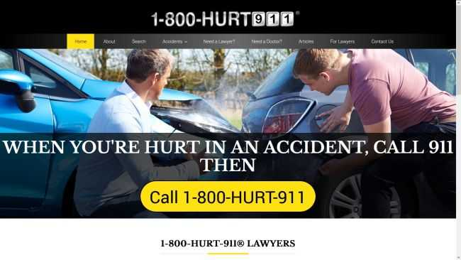 1800HURT911.com Attorney Directory for Personal injury lawyer advertising